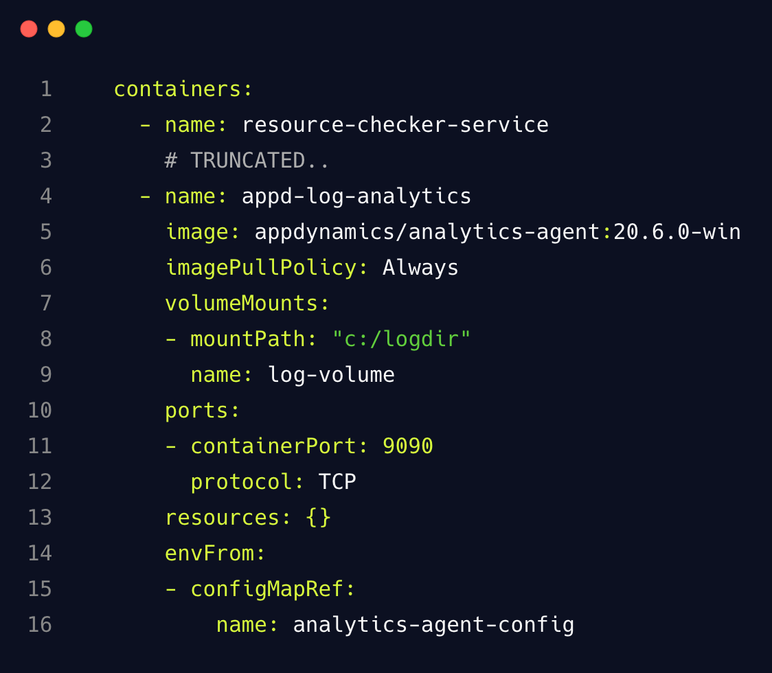 Analytics Agent deployment in a sidecar container code example